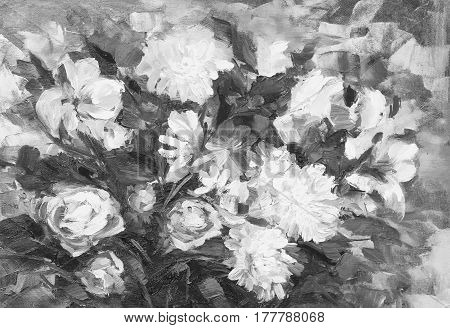 Painting Still Life Oil Painting Texture, Rose Impressionism Art