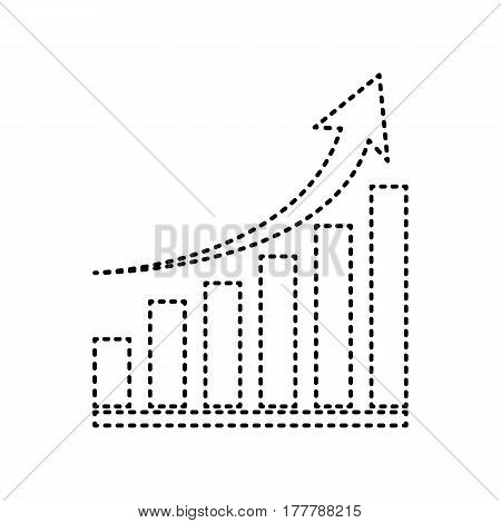 Growing graph sign. Vector. Black dashed icon on white background. Isolated.