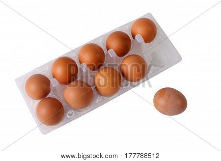 Eggs in packing isolated on the white