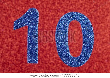 Number ten blue color over a red background. Anniversary. Horizontal
