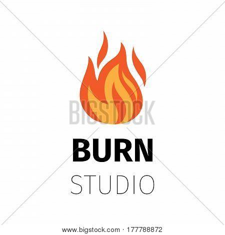 Burn studio icon. Vector fire flame logo template
