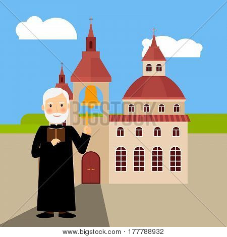 Colored church building with pastor near it, vector illustration