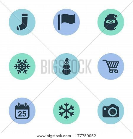 Vector Illustration Set Of Simple Christmas Icons. Elements Ice Man, Photography, Snow And Other Synonyms Camera, Pin And Character.
