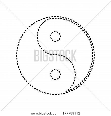 Ying yang symbol of harmony and balance. Vector. Black dashed icon on white background. Isolated.