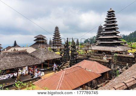 PURA BESAKIH, INDONESIA - SEPTEMBER 30, 2012: Roofs in Pura Besakih Temple in Bali Island Indonesia