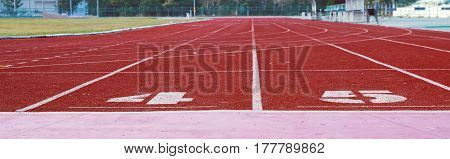 Athlete Track or Running Track and Running track with corner of the football field