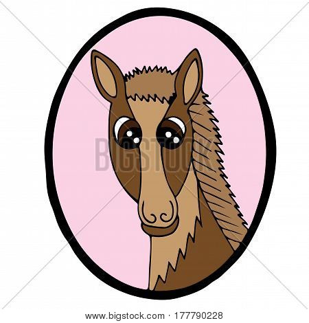 Cartoon head horse in pink frame. Colorful steed for coloring book print and other design.