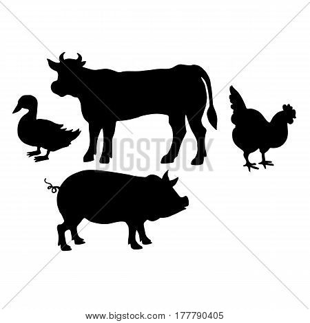 Farm animals. Retro styled farm animals silhouettes collection for groceries, meat stores, packaging and advertising. Vector logotype design.