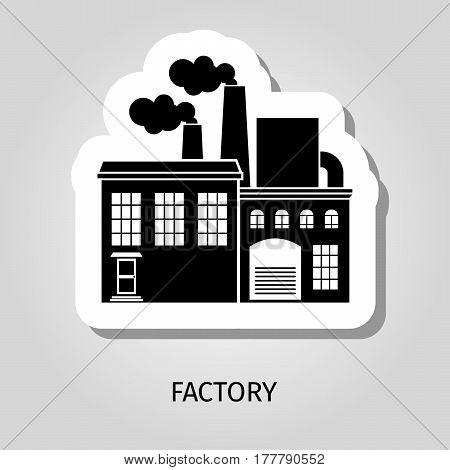 Factory black silhouette building vector web sticker icon
