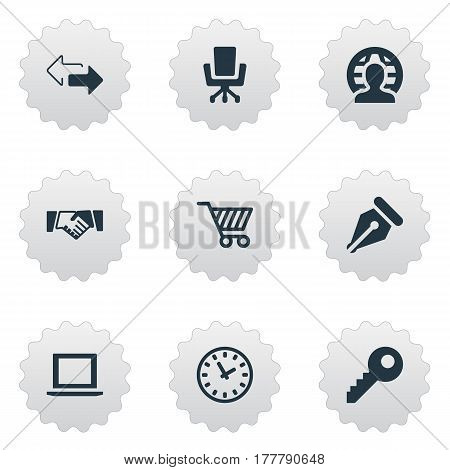 Vector Illustration Set Of Simple Business Icons. Elements Nib, Partnership, Trading Purse And Other Synonyms Ink, Partnership And Chair.