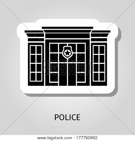 Police building black silhouette vector web sticker icon