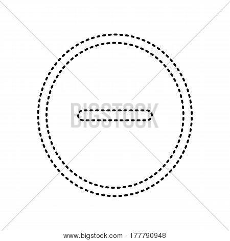 Negative symbol illustration. Minus sign. Vector. Black dashed icon on white background. Isolated.