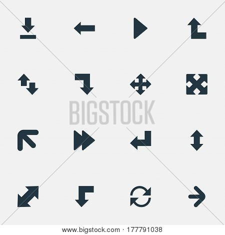 Vector Illustration Set Of Simple Pointer Icons. Elements Downward, Down Up, Straight-Back And Other Synonyms Reduction, Left And Ahead.