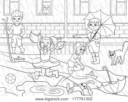 Kids coloring vector children playing in rainy weather illustration. Zentangle style. Black-and-white line