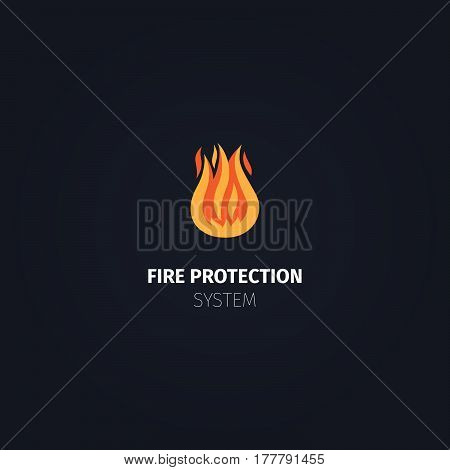 Fire protection system icon. Vector fire flame logo