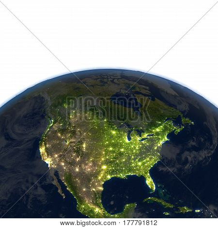 North America At Night On Planet Earth