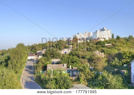 View on a city Belgorod. The Kharkov mountain. Private sector and new buildings