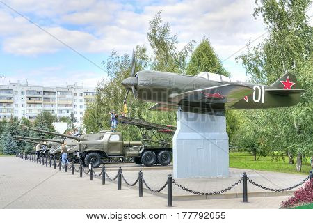 BELGOROD RUSSIA - August 31.2016: Old models of military weaponry participating in a battle on the Museum Square next to Diorama the Kursk battle