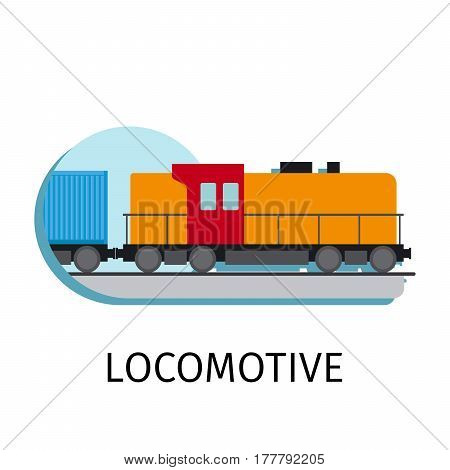 Vector locomotive in flat style with sign on white background