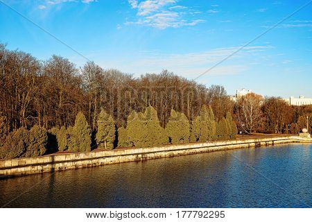 Dawn in a beautiful park in early spring in sunny weather