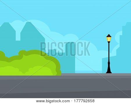 Vintage streetlight on the street near road. Horizontal vector illustration