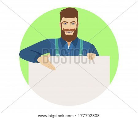 Hipster showing blank signboard. Portrait of hipster in a flat style. Vector illustration.