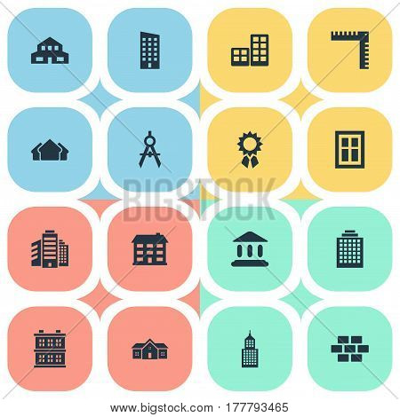 Vector Illustration Set Of Simple Structure Icons. Elements Stone, Structure, Residence And Other Synonyms Compass, Scale And Superstructure.