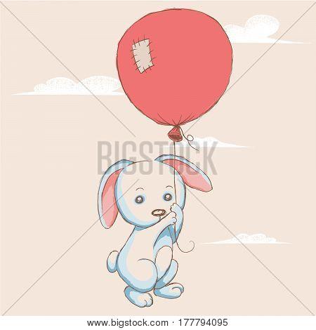 Little rabbit flying with balloon to the sky.Cartoon childish vector illustration.