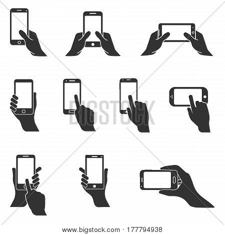 smartphone or mobile phone in hand vector icon set