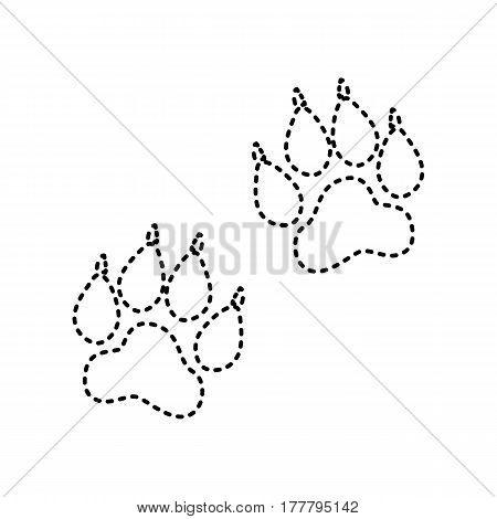 Animal Tracks sign. Vector. Black dashed icon on white background. Isolated.