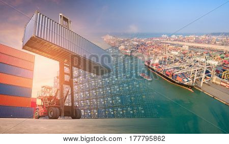 Double exposure forklift truck and container shipping boat at shipping yard.Photo concept for Global business shippingLogisticImport and Export industry.