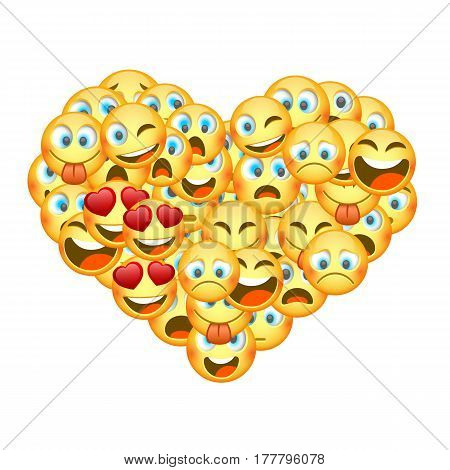 A set of emoticons shaped as heart. Vector
