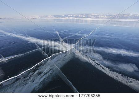 Cracks In Ice Of Lake Baikal. Winter