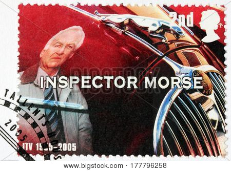LUGA RUSSIA - NOVEMBER 6 2016: A stamp printed by GREAT BRITAIN shows image portrait of famous English actor John Thaw as Inspector Morse circa 2005