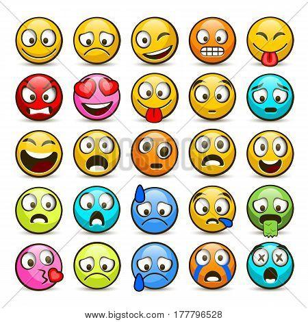 Emoji and sad icon set. Vector illustration collection