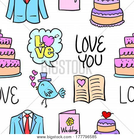 Wedding colorful doodle style collection vector illustration