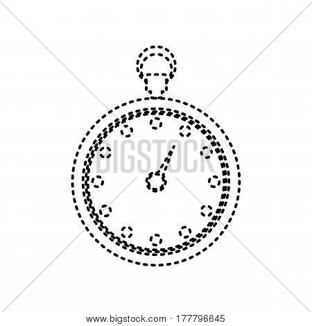 Stopwatch sign illustration. Vector. Black dashed icon on white background. Isolated.