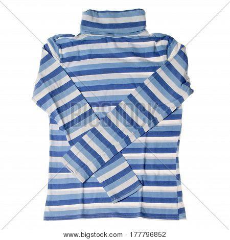 Striped turtleneck on white background. Fashion and mode.