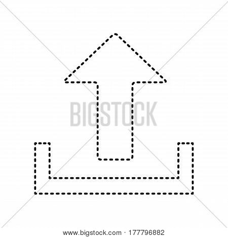 Upload sign illustration. Vector. Black dashed icon on white background. Isolated.