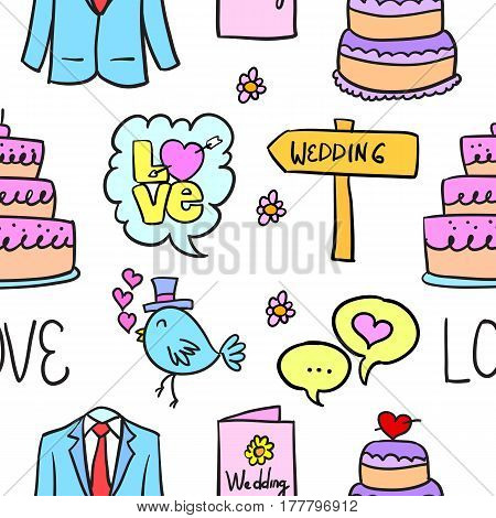 Vector illustration of wedding style doodles collection