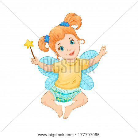 Little fairy. Vector illustration. Drawing suitable for print on pacage of children's goods clothes furniture.The child is sitting in a diaper.
