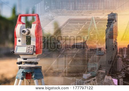 Double Exposure Surveyor Equipment Theodolite Outdoors With Building And Construction Engineer At Co