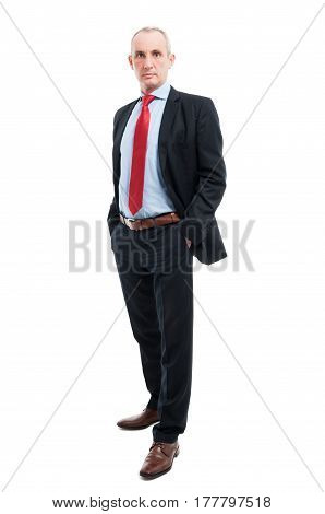 Full Body Senior Business Man Posing With Hands In Pockets