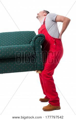 Full Body Of Mover Guy Lifting Up A Heavy Couch