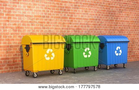 three dumpster near the brick wall. 3D illustration