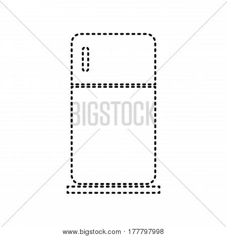 Refrigerator sign illustration. Vector. Black dashed icon on white background. Isolated.