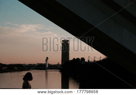 Silluete at sunset from barqueta bridge in Seville