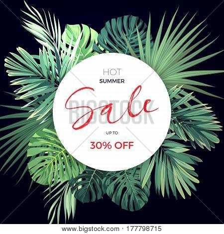 Summer hawaiian flyer design with green tropical plants and palm leaves, vector illustration