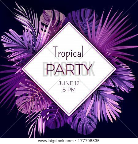 Purple neon floral banner template for summer beach party. Tropical flyer with exotic palm leaves and plants. Vector illustration.