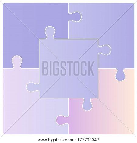 Color Puzzle set of five pieces. Vector illustration
